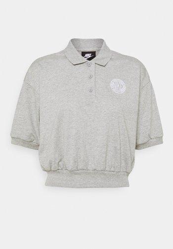 FEMME CROP - Poloshirt - grey heather/matte silver/white