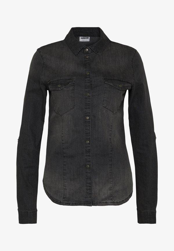 Noisy May NMDILEM SLIM - Koszula - black denim/czarny denim NMGK