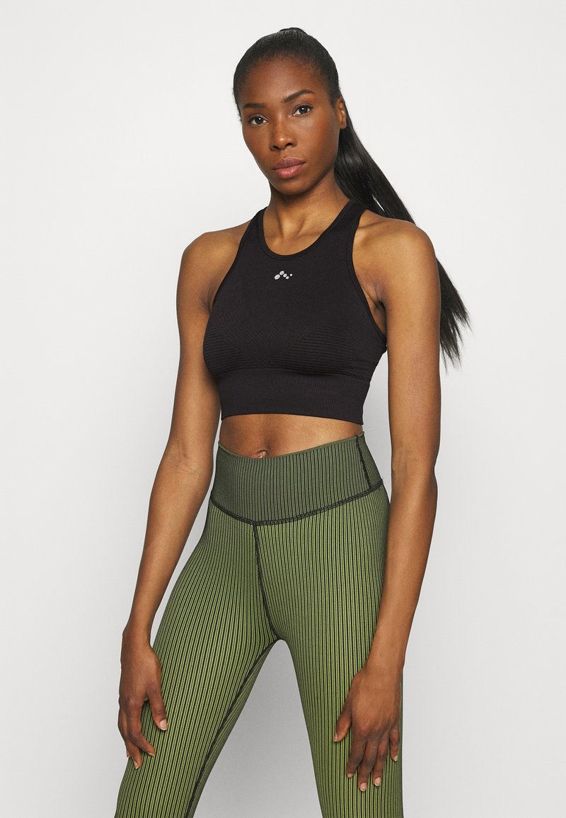 ONLY Play - ONPONITA CROPPED CIRCULAR - Medium support sports bra - black