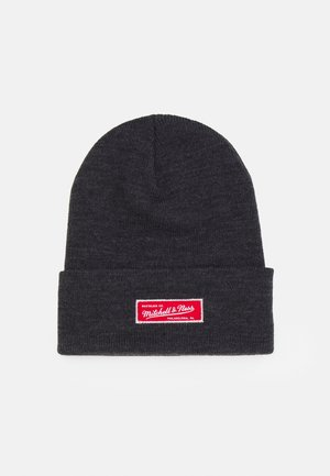 BRANDED ROLL UP BEANIE  - Muts - black