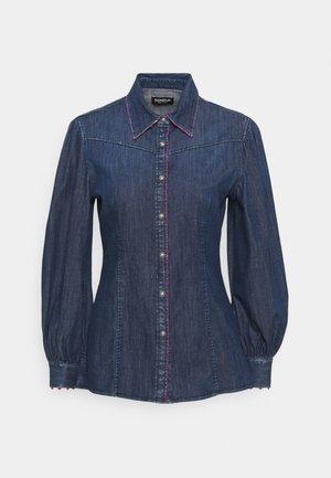 CAMICIA - Button-down blouse - blue denim