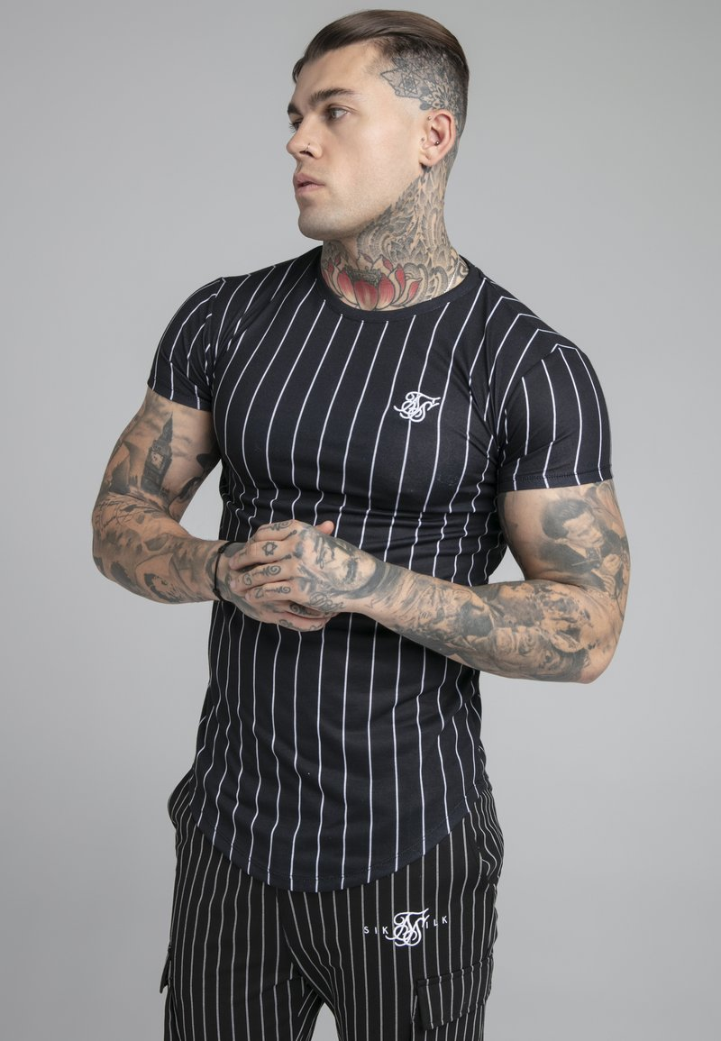 SIKSILK - PINSTRIPE TEE - Print T-shirt - black