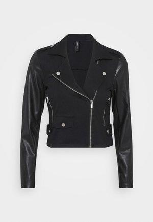 ONLPOPTRASH MIX BIKER JACKET - Faux leather jacket - black