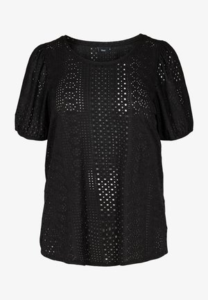 WITH BRODERIE ANGLAISE - Print T-shirt - black