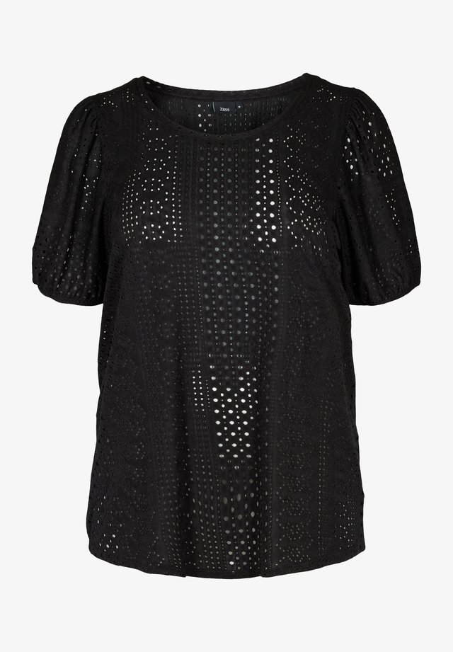 WITH BRODERIE ANGLAISE - T-shirt imprimé - black