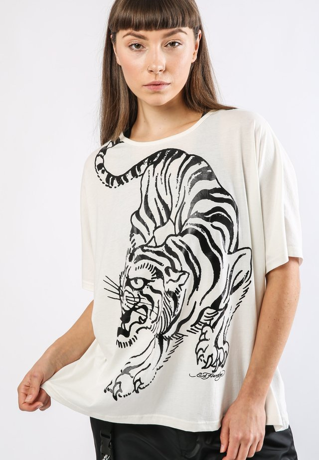 TIGER-GIANT OVERSIZE TOP - T-shirt print - white