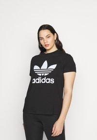 adidas Originals - TREFOIL TEE - Printtipaita - black/white - 0