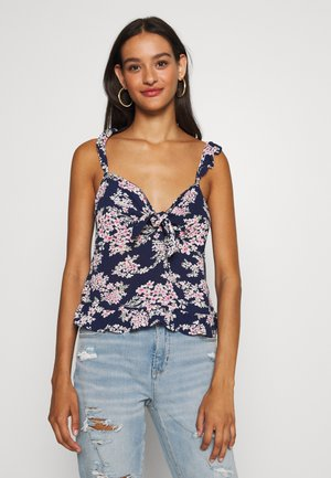TIE FRONT RUFFLE STRAP CAMI - Top - navy
