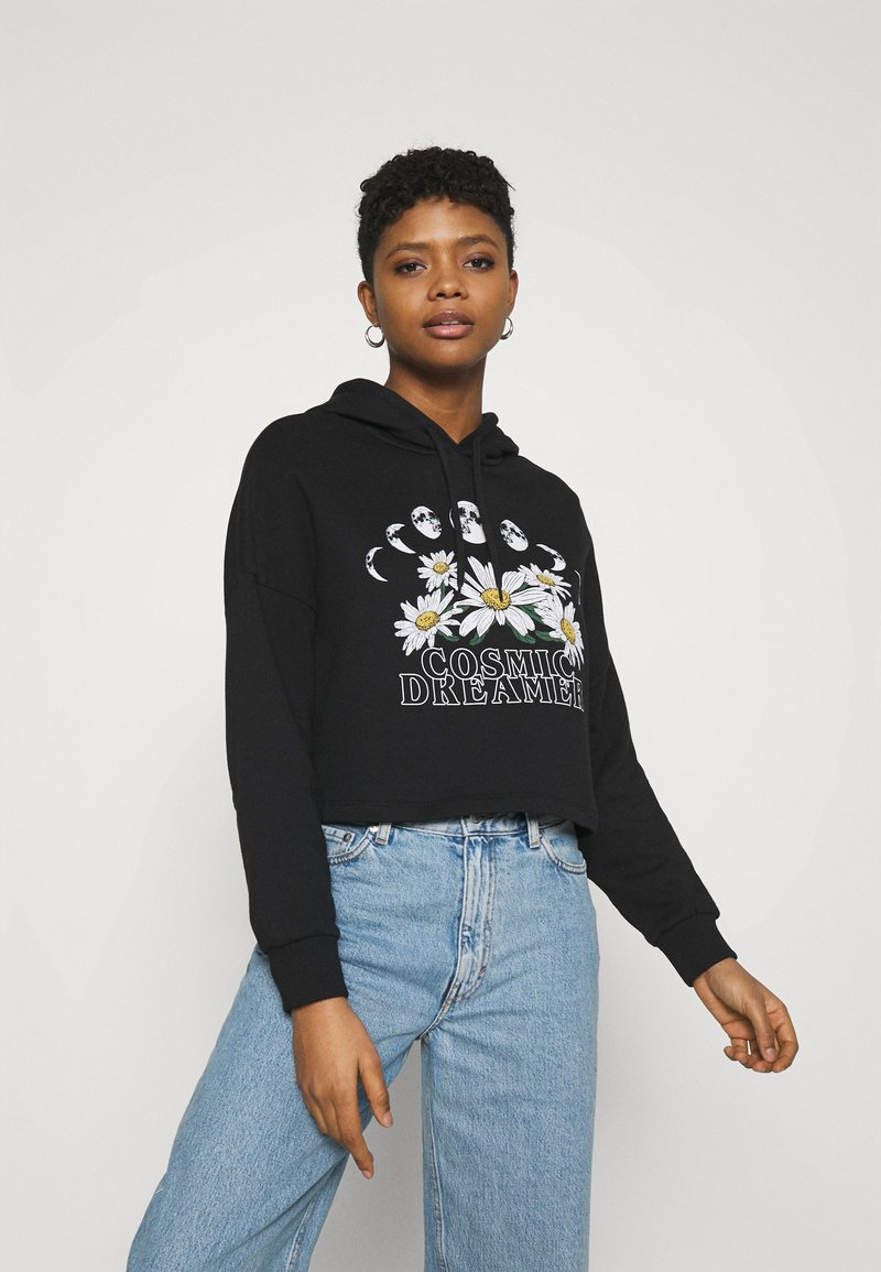 Even&Odd - Cropped Oversized Printed Hoodie - Jersey con capucha - black
