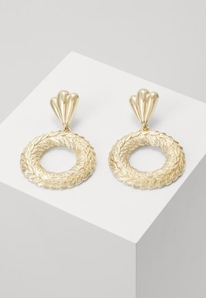 ENGRAVED DISC DROP - Earrings - gold-coloured