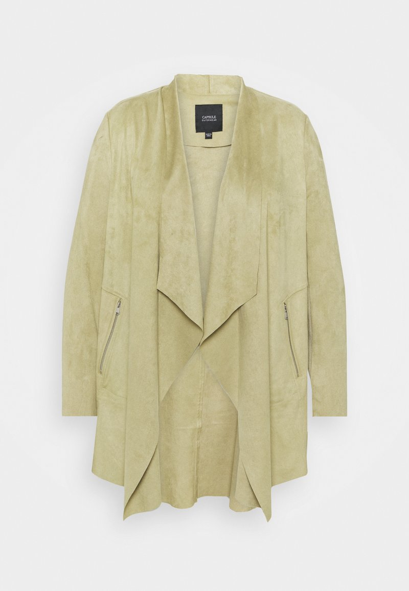 CAPSULE by Simply Be - WATERFALL JACKET WITH PANEL SLEEVES - Short coat - olive
