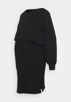 OVERLAY NURSING DRESS - Bluzka z długim rękawem - true black