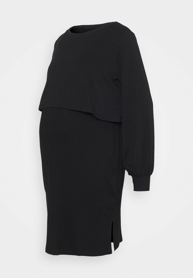 OVERLAY NURSING DRESS - Longsleeve - true black