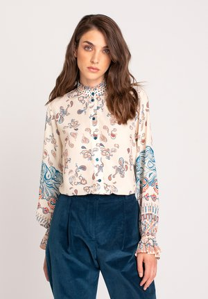 BLOUSE PATCHWORK PATTERN - Button-down blouse - off white