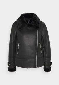 New Look Petite - CHRISSY AVIATOR - Faux leather jacket - black - 4