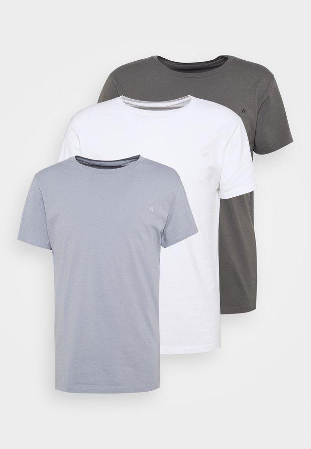 CREW TEE 3 PACK - T-shirt basic - white/periwinkle/ash grey