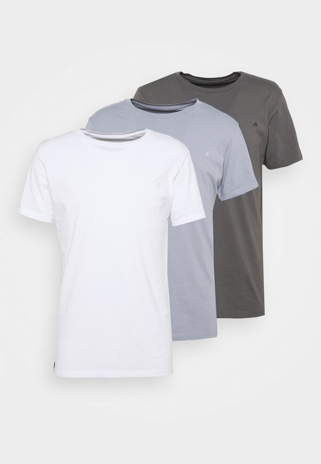 CREW TEE 3 PACK - T-shirt basique - white/periwinkle/ash grey