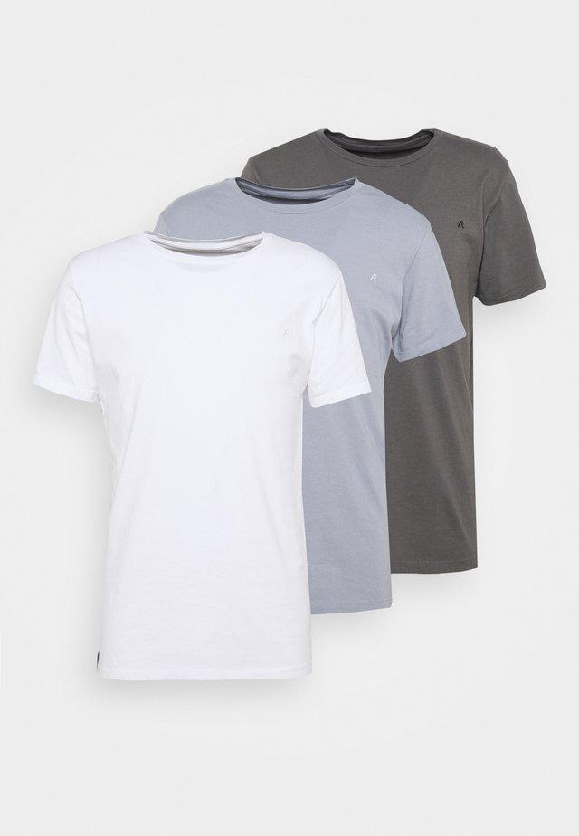 CREW TEE 3 PACK - Basic T-shirt - white/periwinkle/ash grey