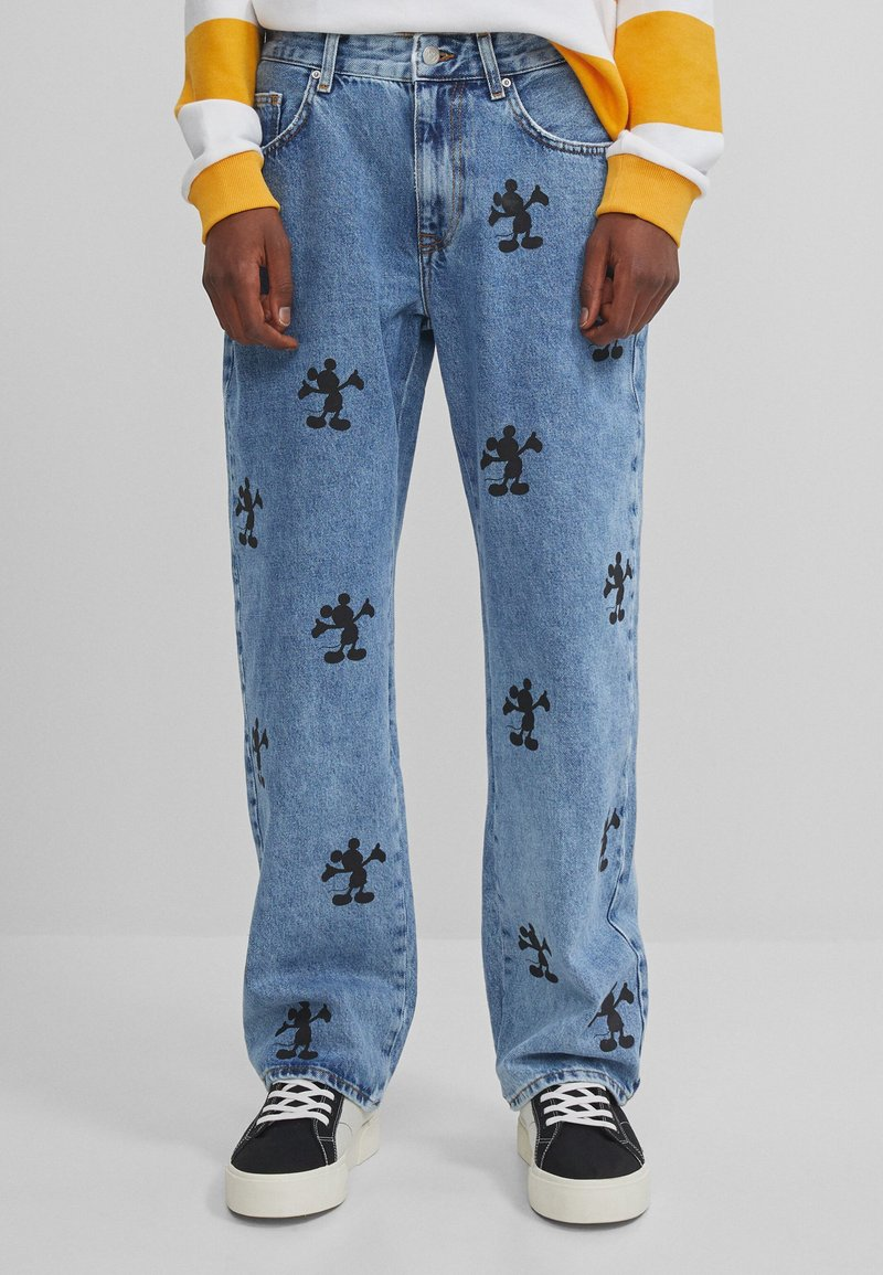 Bershka - MIT MICKY MAUS - Relaxed fit jeans - blue denim