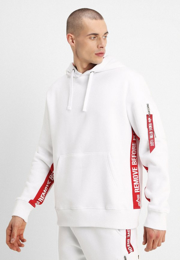 Alpha Industries INLAY TAPE HOODYEXCLUSIV - Bluza z kapturem - white/biały Odzież Męska PVWT