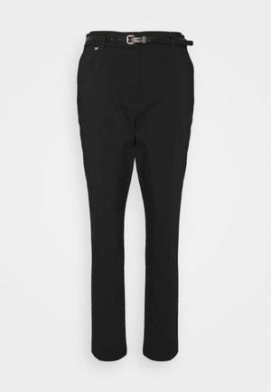 BELTED CIGARETTE - Pantalon classique - black