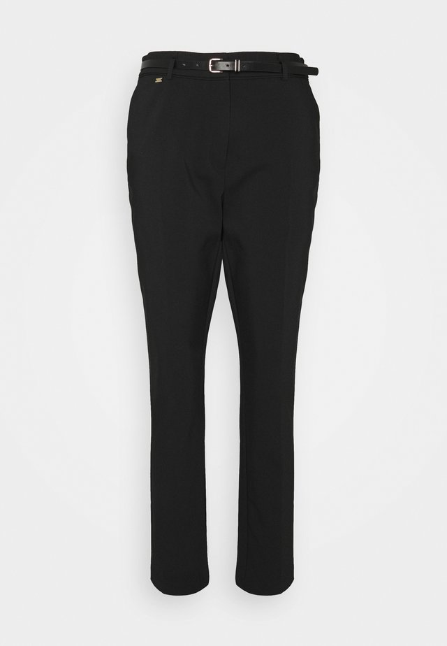 BELTED CIGARETTE - Trousers - black
