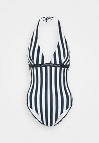 Tommy Hilfiger - CORE SOLID LOGO ONE PIECE HALTER - Swimsuit - blue - 0