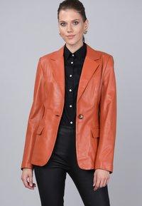 Basics and More - Leather jacket - orange - 0
