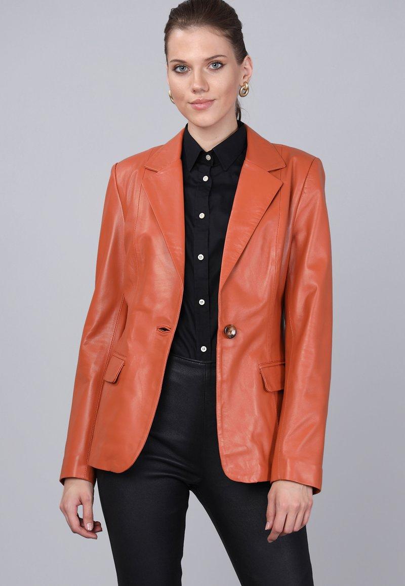 Basics and More - Leather jacket - orange