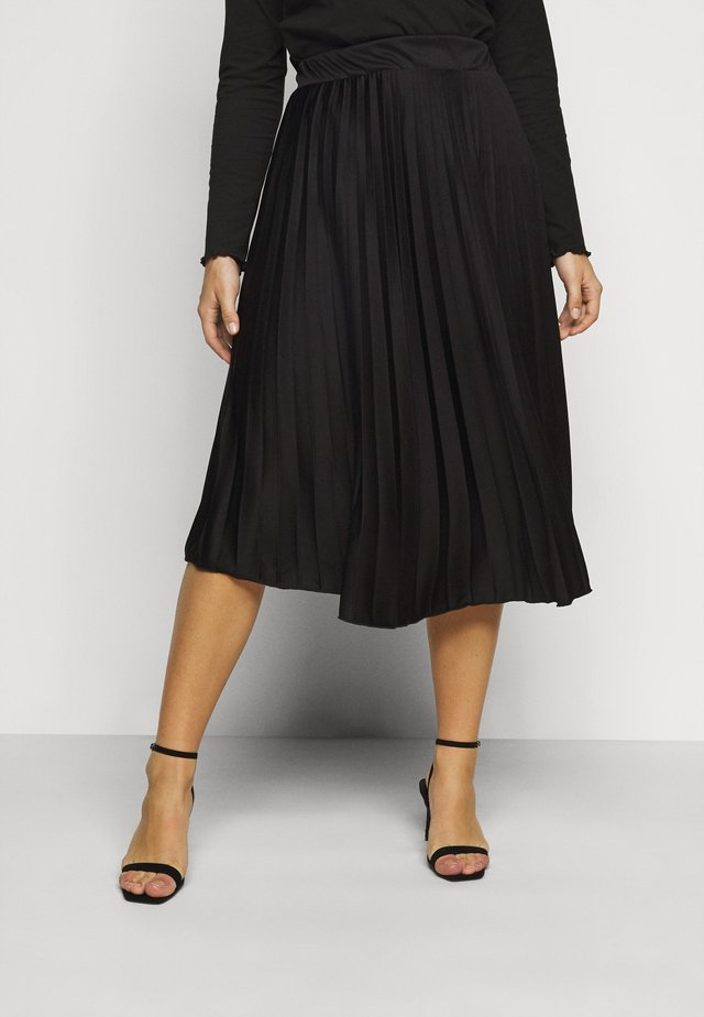 CURVE PLEAT MIDI SKIRT - A-Linien-Rock - black