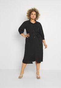 ONLY Carmakoma - CARNOVA LONG SHIRT DRESS SOLID - Shirt dress - black - 0