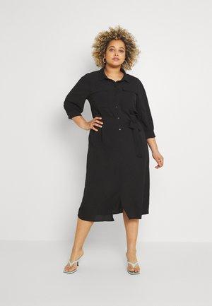 CARNOVA LONG SHIRT DRESS SOLID - Košilové šaty - black
