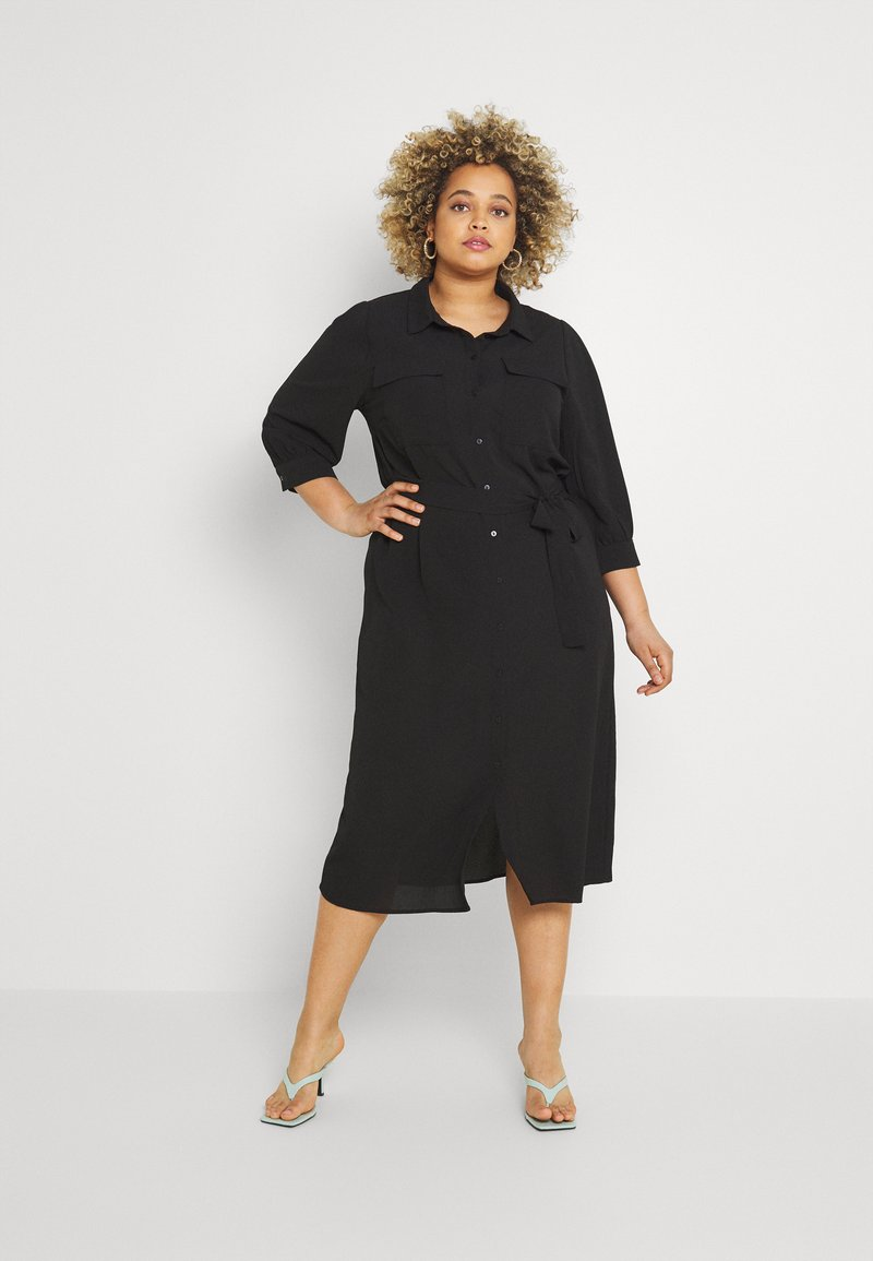 ONLY Carmakoma - CARNOVA LONG SHIRT DRESS SOLID - Shirt dress - black
