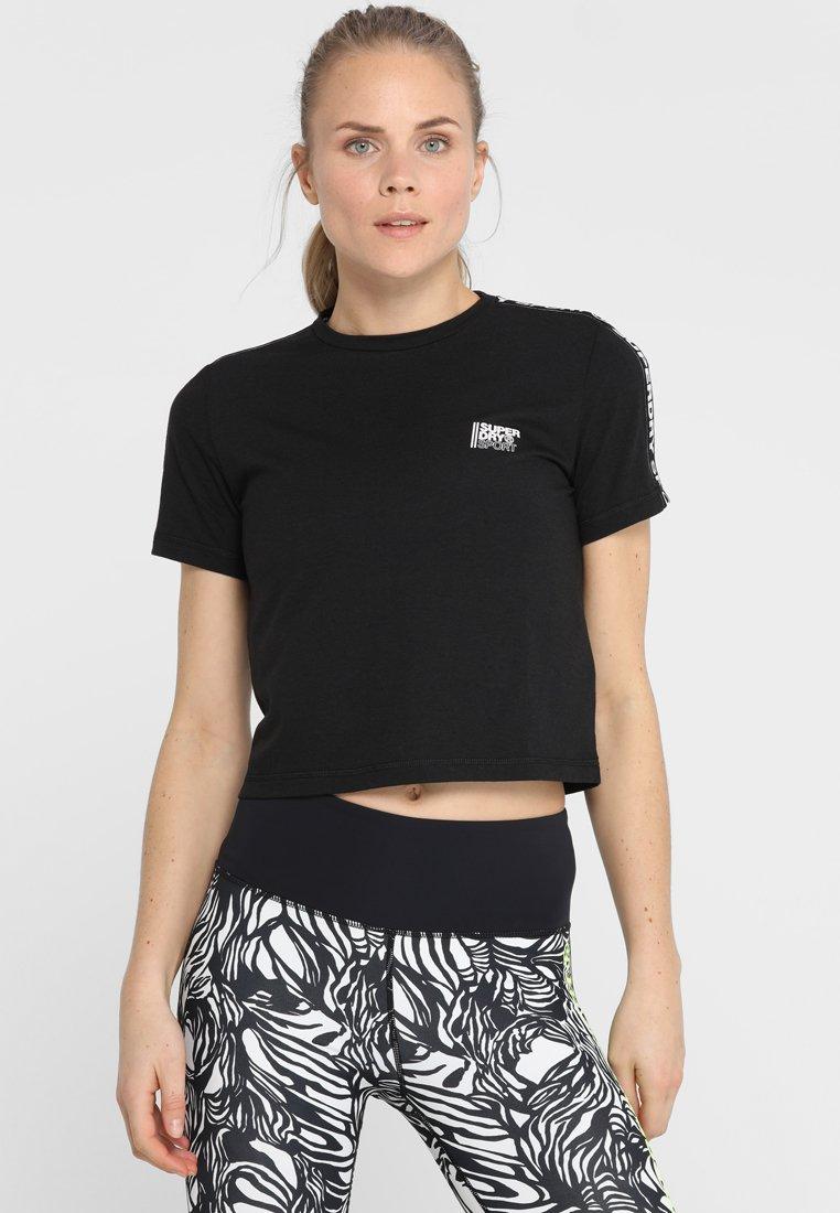Superdry - CORE CROP BRANDED TEE - Print T-shirt - black