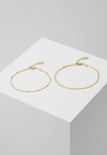 SATELLITE AND FLAT CURB CHAIN BRACELET 2 PACK