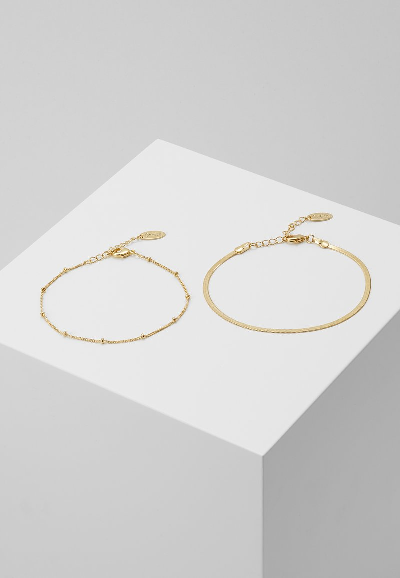 Orelia - SATELLITE AND FLAT CURB CHAIN BRACELET 2 PACK - Armbånd - gold-coloured