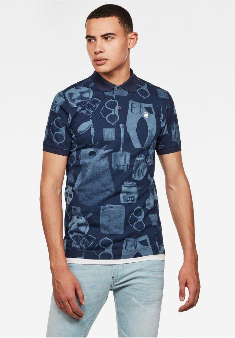 G-Star - DUNDA MATERIALS AO GR SLIM SHORT SLEEVE - Polo shirt - avio mono objects
