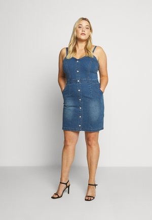 BUTTON DETAIL STRETCH MINI DRESS - Denim dress - blue denim