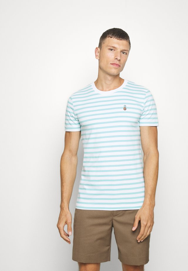 STRIPED EMBROIDERY - Print T-shirt - soft sky blue