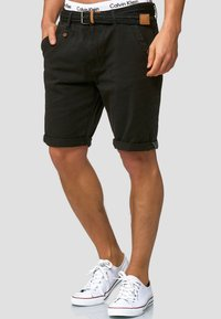 INDICODE JEANS - CASUAL FIT - Shorts - mottled black - 0