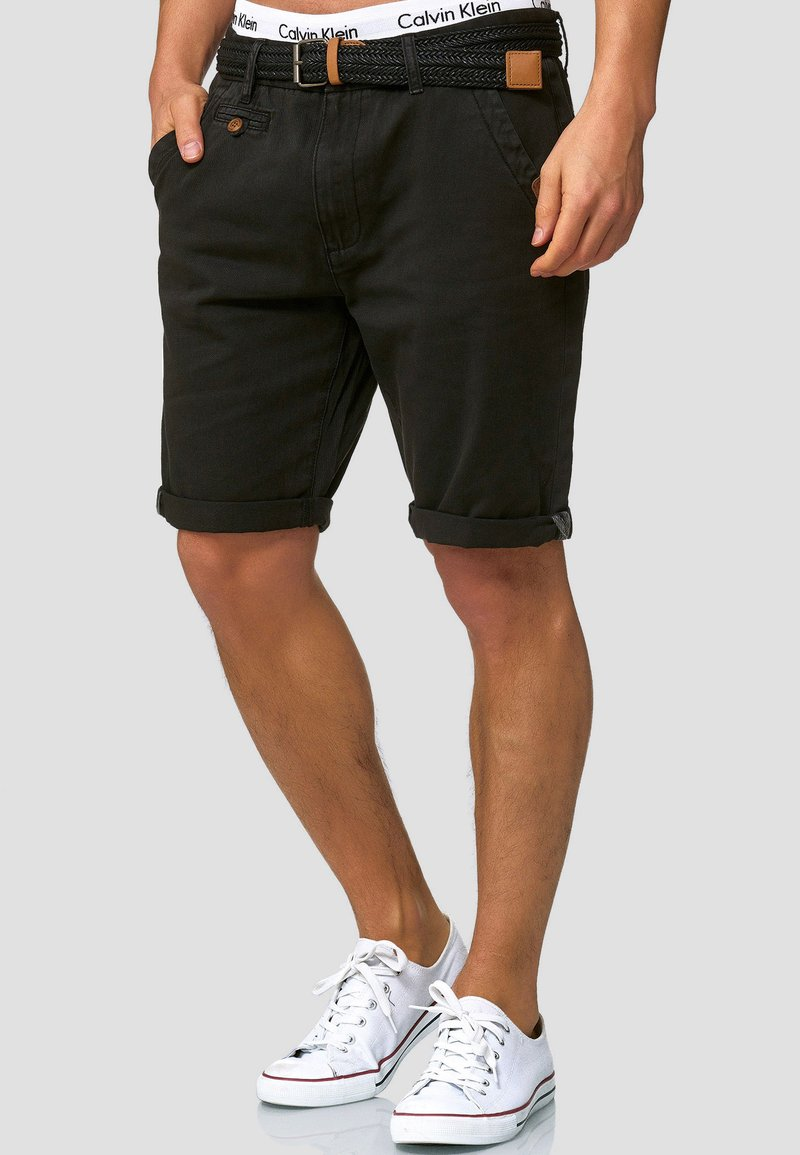 INDICODE JEANS - CASUAL FIT - Shorts - mottled black