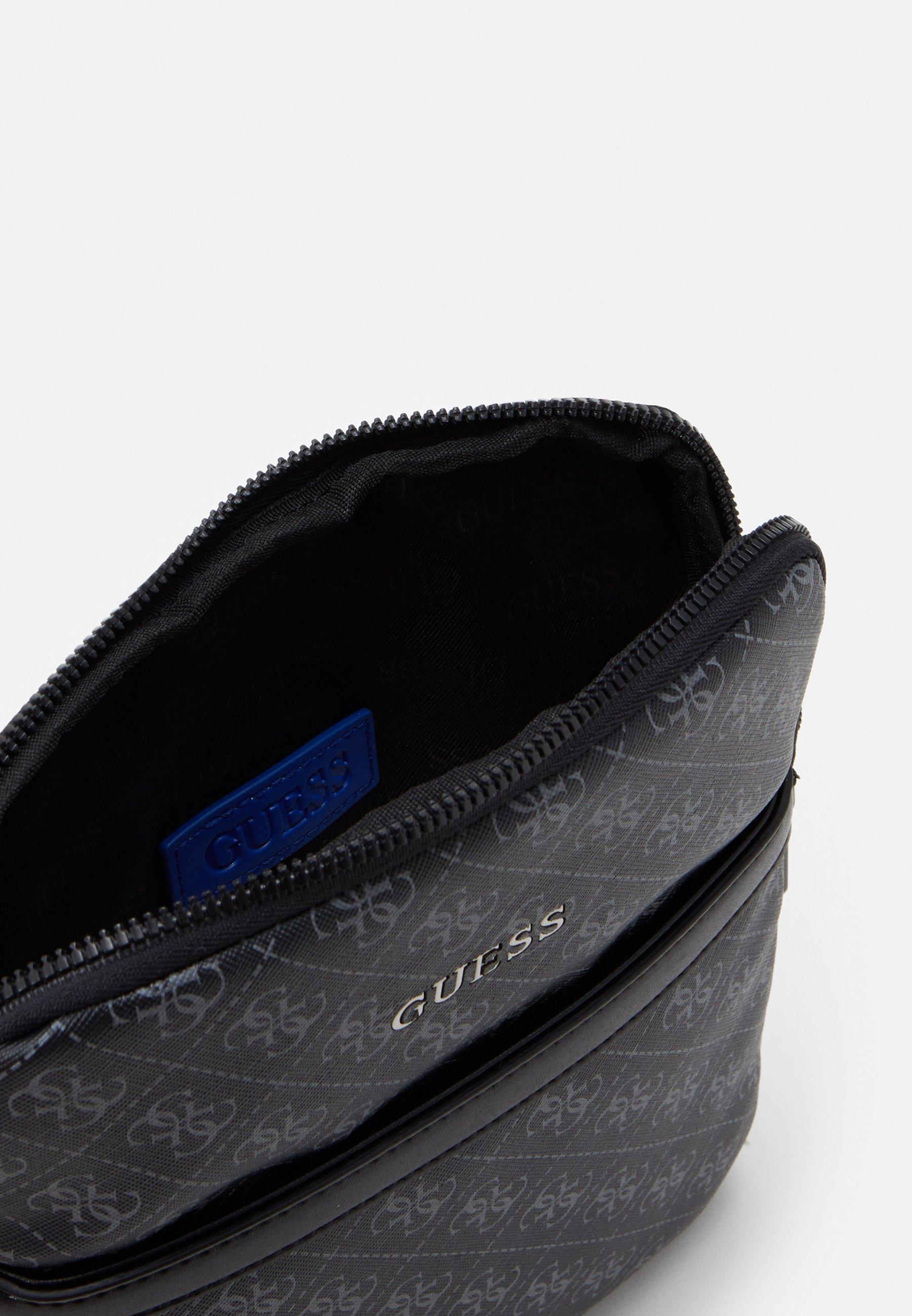 Latest Outlet Guess VEZZOLA MINI FLAT CROSSBODY - Across body bag - black | men's accessories 2020 YXtbt