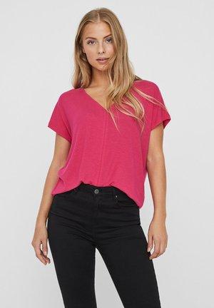 MIT KURZEN ÄRMELN V-AUSSCHNITT - Basic T-shirt - pink peacock