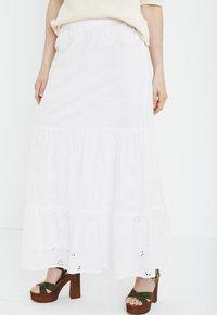 PULZ - Maxi skirt - bright white - 0