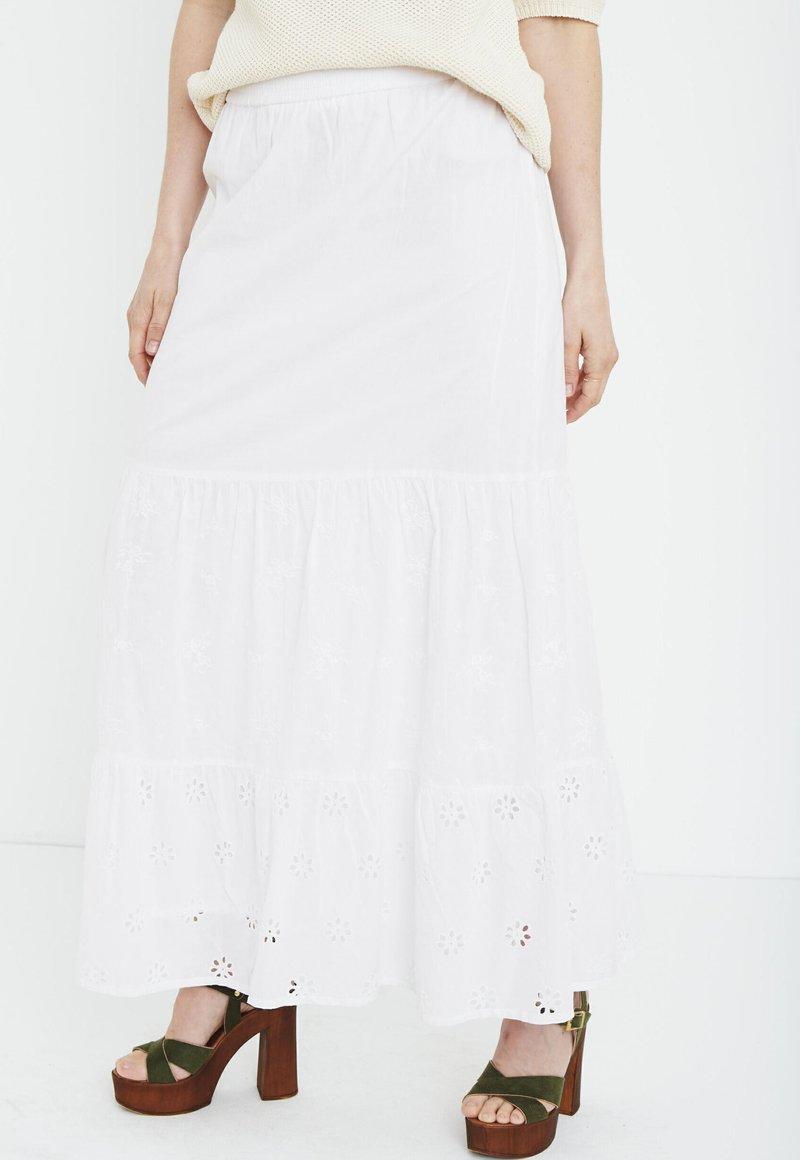 PULZ - Maxi skirt - bright white