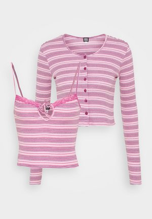 STRIPED CARDIGAN SET - Vest - pink
