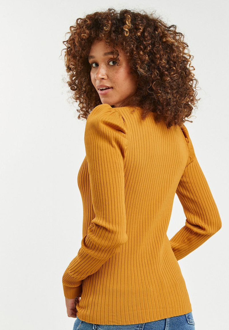 Next TIE NECK RUCHED SLEEVE - Strickpullover - gold 0Ng0Eu