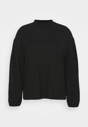 HIGH NECK CUT AND SEW BALLOON SLEEVE - Stickad tröja - black