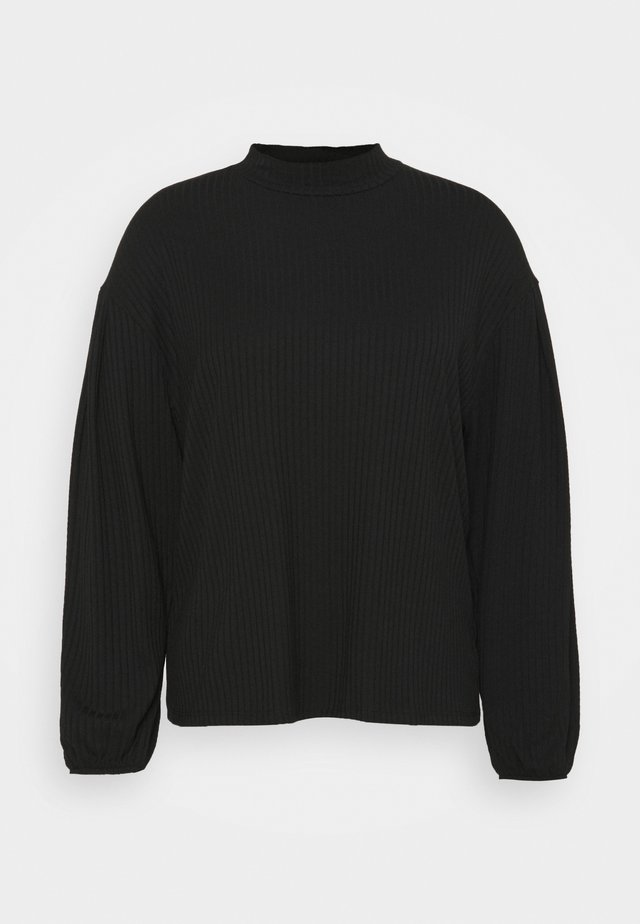 HIGH NECK CUT AND SEW BALLOON SLEEVE - Strikkegenser - black