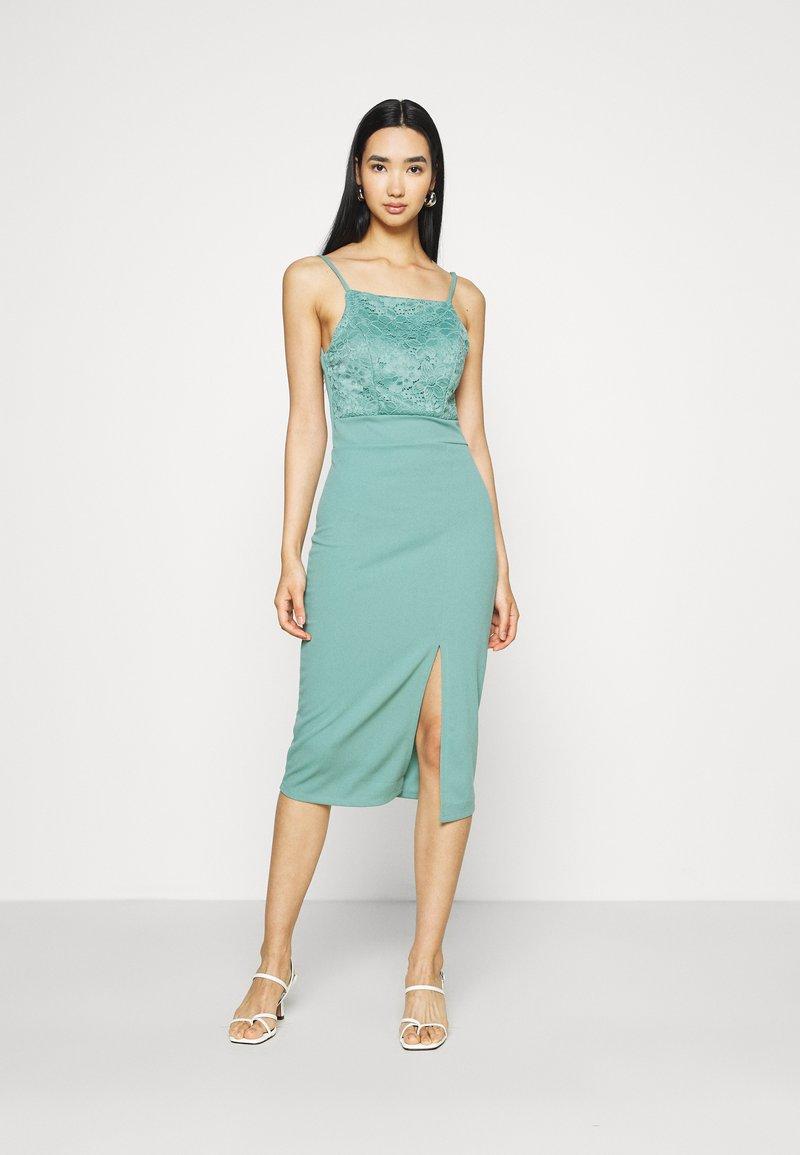 WAL G. - ASHANTI LACE MIDI DRESS - Cocktail dress / Party dress - sage green